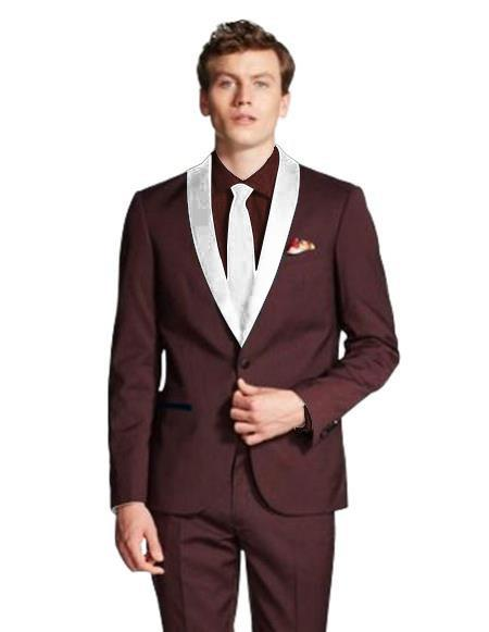 Product# JA559 Mens Dark Navy Blue Shawl Lapel Single Breasted Burgundy/White ~ Wine ~ Maroon Color Tuxed