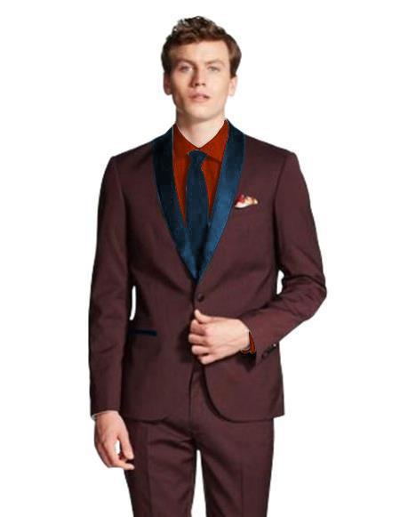 Product# JA563 Mens Dark Navy Blue Shawl Lapel Single Breasted Maroon/Navy ~ Wine ~ Maroon Color Tuxedo J