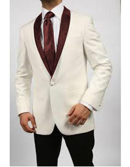 Product# JA564 Mens Blazer Ivory/Burgundy ~ Cream Tuxedo