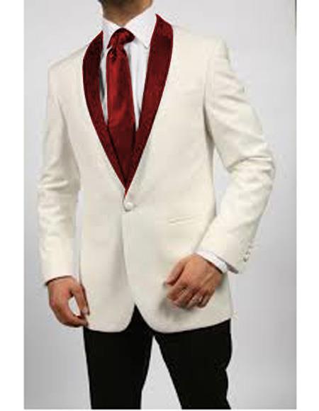 Product# JA565 Mens Blazer Ivory/Maroon ~ Cream Tuxedo