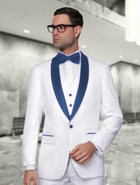 Nardoni White and Navy BlueVested Shawl Lapel Tuxedo Wedding / Prom Fashion Two Toned Suit Jacket & & Vest & Pants