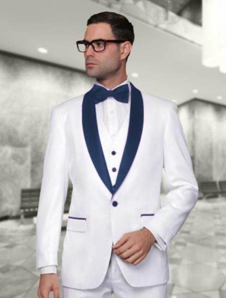 Product# WTX_Tux_SH Men's White and Navy Blue Vested Shawl Lapel Tuxedo Wedding / Prom Fashion Two Toned Suit ( Jacket and Pants)  For Men & & Vest & Pants