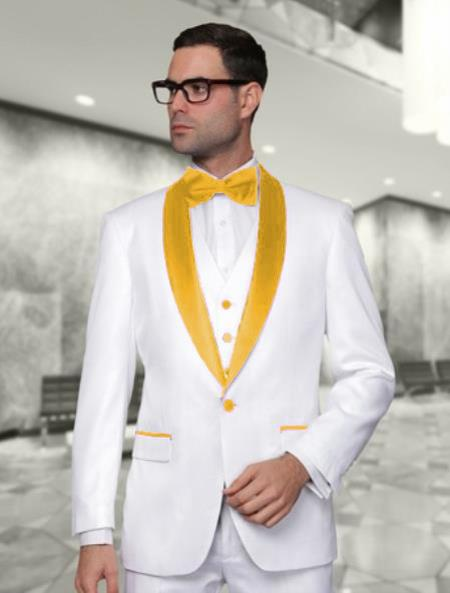 Product# WTX_Tux_SH Men's White and Gold Vested Shawl Lapel Tuxedo Wedding / Prom Fashion Two Toned Suit ( Jacket and Pants)  For Men Jacket & & Vest & Pants