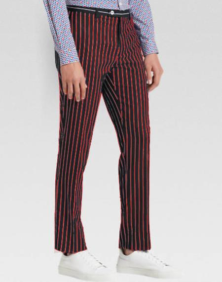 Product# JA576 Mens Slacks Red Ganagster Chalk Striped