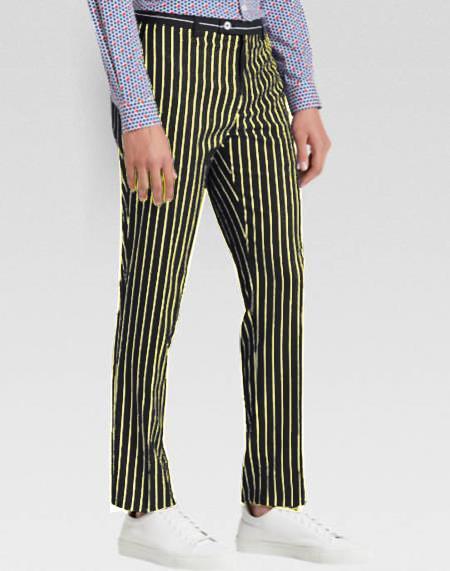 men's Slacks Black Ganagster Chalk Striped Black Pinstripe