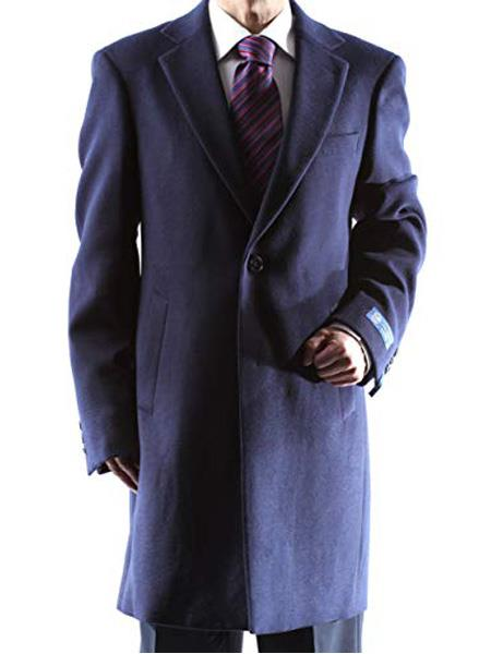 Product# SR274  Mens Caravelli Single Breasted Two Button 3/4 Length Navy Topcoat