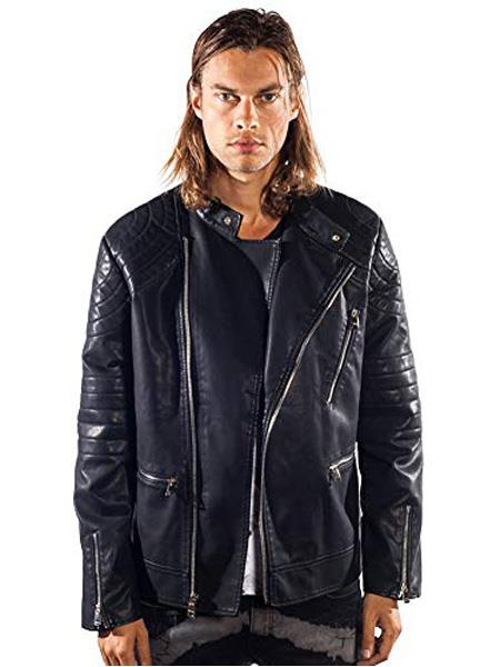 Product# SR278 Mens Barabas Gunner Gold Leaf Regular Fit Black Jacket