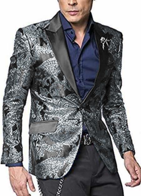 Product# JA592 Mens 2 Button Paisley Designed Peak Lapel Grey ~ Gray Silver Black / White Sport Coat Blaz