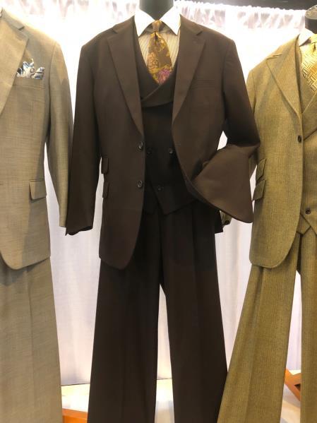 men's Single Breasted Notch Lapel Light Brown Suit