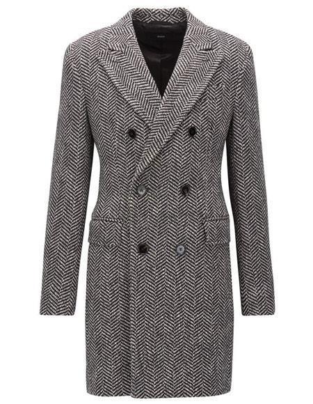 men's Double Breasted Gray Herringbone Tweed Six Button Overcoat