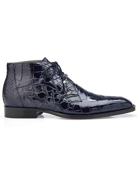 men's Blue Three Eyelet Lacing Cap Toe Shoe