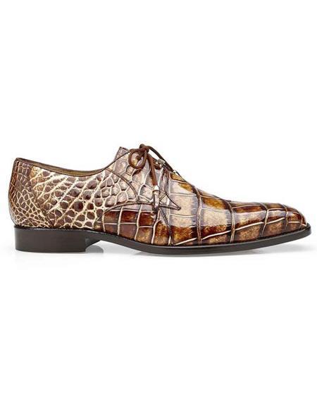men's Alligator Two Eyelet Lacing Brown Cap Toe Shoe