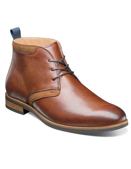 men's Tan ~ Cognac Three Eyelet Lacing Calf ~ Leather Shoe