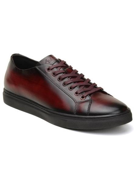 Mens Burgundy Lace Up
