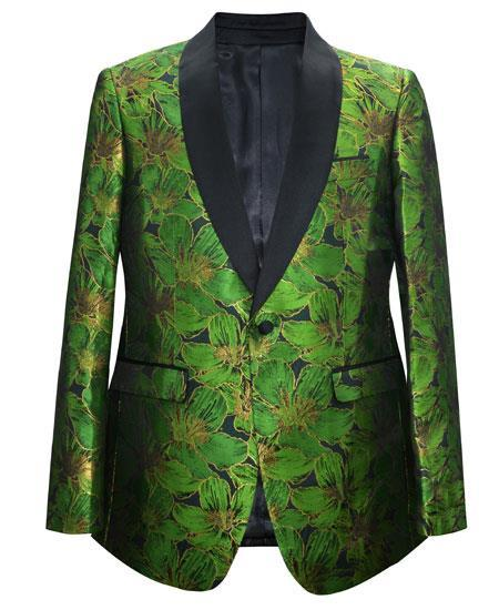 Product# JA678 Cheap Mens Printed Unique Patterned Print Floral Tuxedo Flower Jacket Prom custom celebrity modern Tux Green