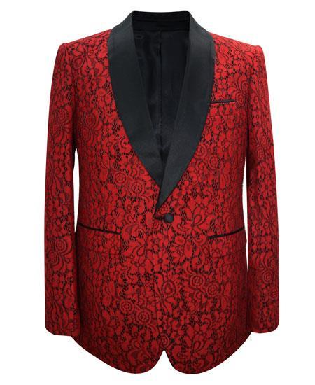 Cheap men's Printed Unique Patterned Print Floral Tuxedo Flower Jacket Prom custom celebrity modern Tux Red