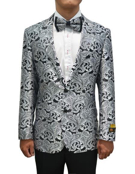 Cheap men's Printed Unique Patterned Print Floral Tuxedo Flower Jacket Prom custom celebrity modern Tux Charcoal