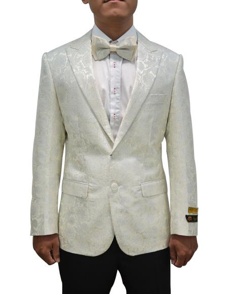 Cheap men's Printed Unique Patterned Print Floral Tuxedo Flower Jacket Prom custom celebrity modern Tux Ivory