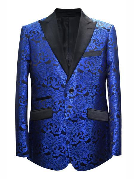 Product# JA699 Cheap Mens Printed Unique Patterned Print Floral Tuxedo Flower Jacket Prom custom celebrity modern Tux Royal Blue