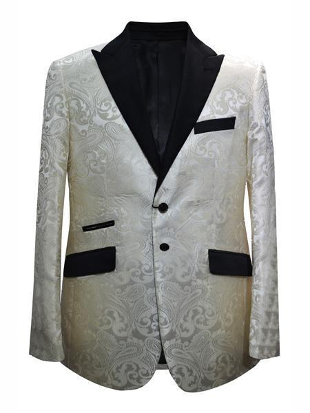 Cheap men's Printed Unique Patterned Print Floral Tuxedo Flower Jacket Prom custom celebrity modern Tux Cream ~ Ivory