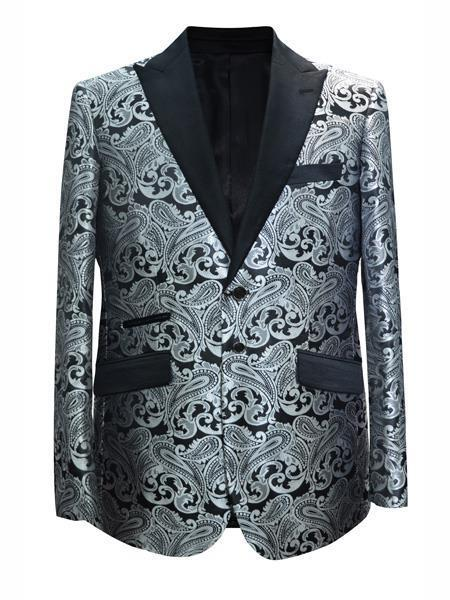 Cheap men's Printed Unique Patterned Print Floral Tuxedo Flower Jacket Prom custom celebrity modern Tux Grey ~ Gray Black and Silver Suit Black / White