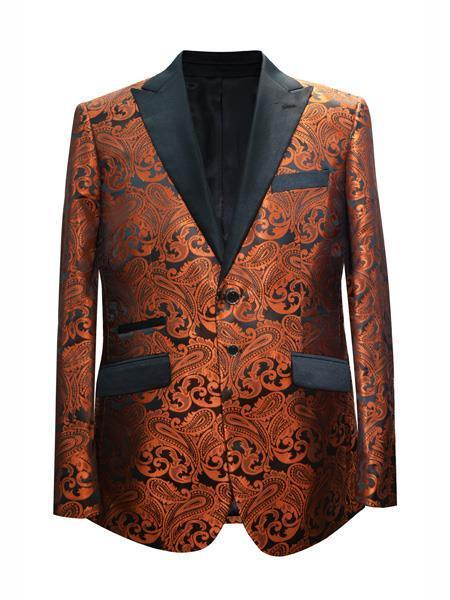 Product# JA706 Cheap Mens Printed Unique Patterned Print Floral Tuxedo Flower Jacket Prom custom celebrity modern Tux Rust ~ Coganc ~ Light color