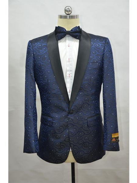 Product# JA708 Cheap Mens Printed Unique Patterned Print Floral Tuxedo Flower Jacket Prom custom celebrity modern Tux Navy - Black