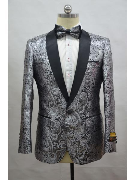 Product# JA709 Cheap Mens Printed Unique Patterned Print Floral Tuxedo Flower Jacket Prom custom celebrity modern Tux Silver - Black