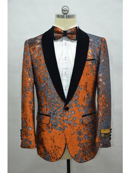 Product# JA713 Cheap Mens Printed Unique Patterned Print Floral Tuxedo Flower Jacket Prom custom celebrity modern Tux Rust ~ Black