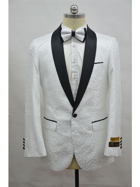 Product# JA716 Cheap Mens Printed Unique Patterned Print Floral Tuxedo Flower Jacket Prom custom celebrity modern Tux White ~ Black