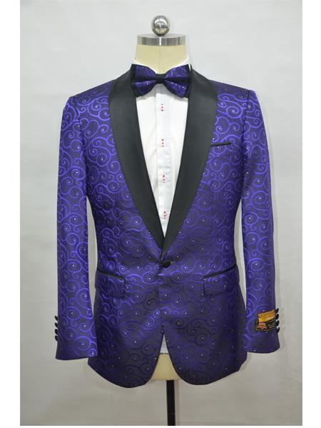 Product# JA720 Cheap Mens Printed Unique Patterned Print Floral Black and Purple Tuxedo Flower Jacket Prom custom celebrity modern Tux Dark Purple ~ Black