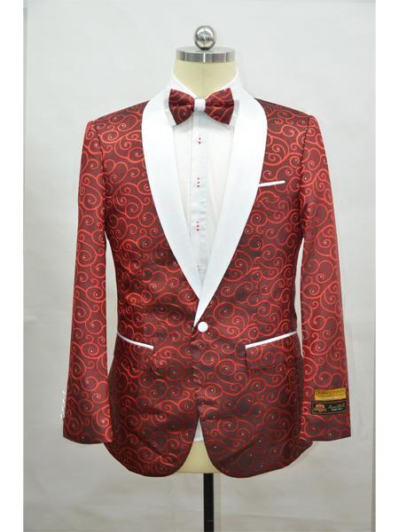 Product# JA721 Cheap Mens Printed Unique Patterned Print Floral Tuxedo Flower Jacket Prom custom celebrity modern Tux Red ~ White