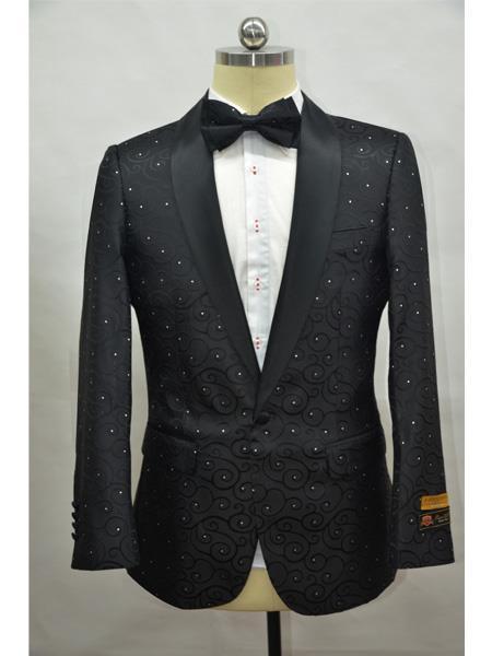 Cheap men's Printed Unique Patterned Print Floral Tuxedo Flower Jacket Prom custom celebrity modern Tux Black