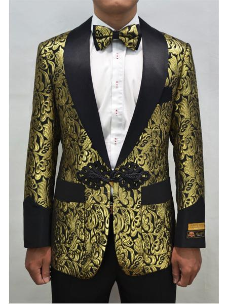 Product# JA727 Cheap Mens Printed Unique Patterned Print Floral Tuxedo Flower Jacket Prom custom celebrity modern Tux Gold ~ Black