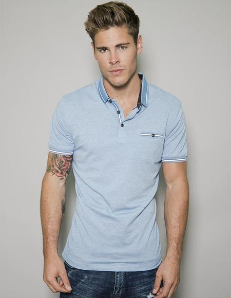 Mens Blue Short Sleeved