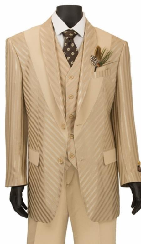 JA736 Mens Single Breasted Shiny Stripe 3 Piece Fashion Suit Beige