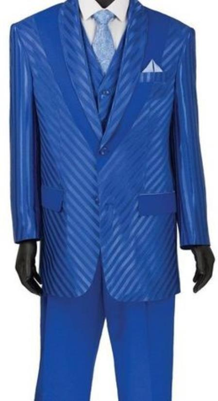 JA737 Mens Single Breasted Shiny Stripe 3 Piece Fashion Suit Blue
