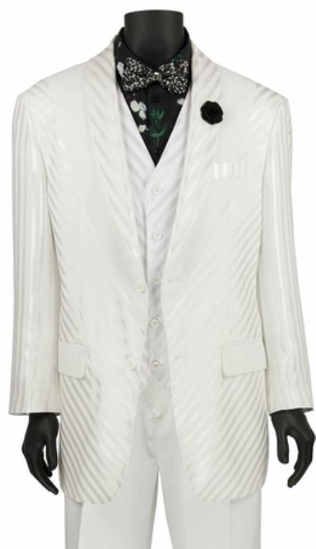JA738 Mens Single Breasted Shiny Stripe 3 Piece Fashion Suit White