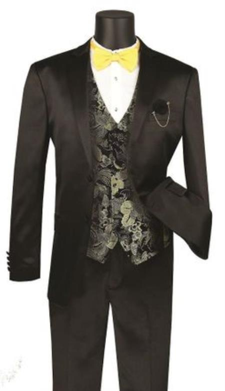 JA739 Mens Single Breasted Shawl Lapel Shiny Stripe 3 Piece Fashion Suit Black