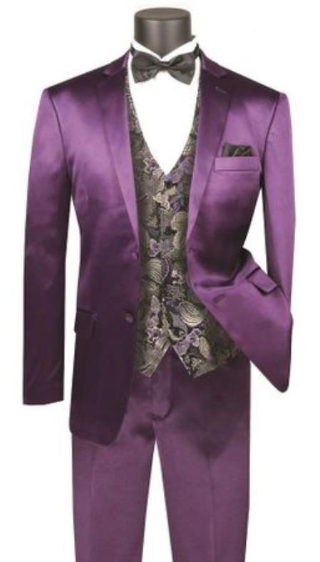 JA740 Mens Single Breasted Shiny Purple Slim Fit Suit