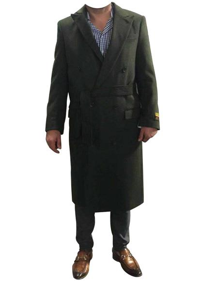Product# EK387 Mens Alberto Nardoni Belted Wool Coat Overcoats ~ Topcoat Double Breasted Suit Full Length