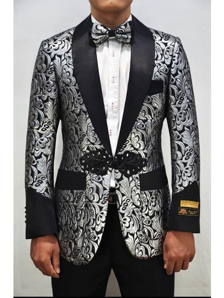 Nardoni PXR-Smoking-2Smoking Cocktail Dinner Jacket Shawl Collar Floral Paisley Flashy Fancy Blazer Silver ~ Black For Men