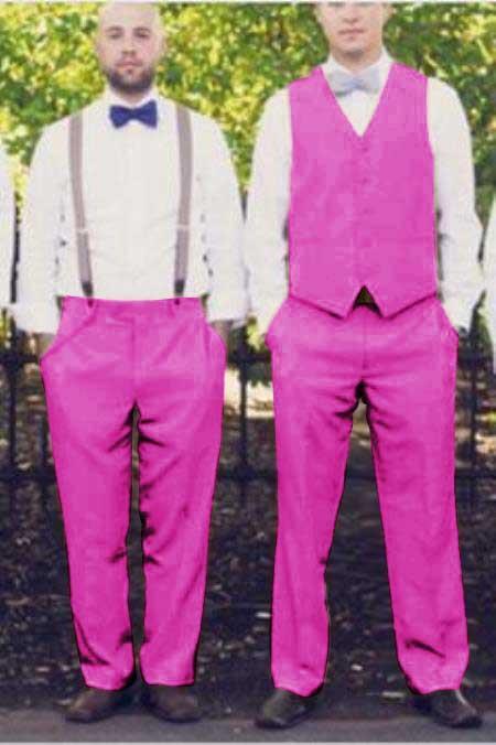 men's Suit Vest Fuschia