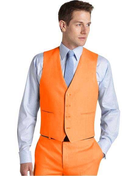 Mens Suit Vest Orange