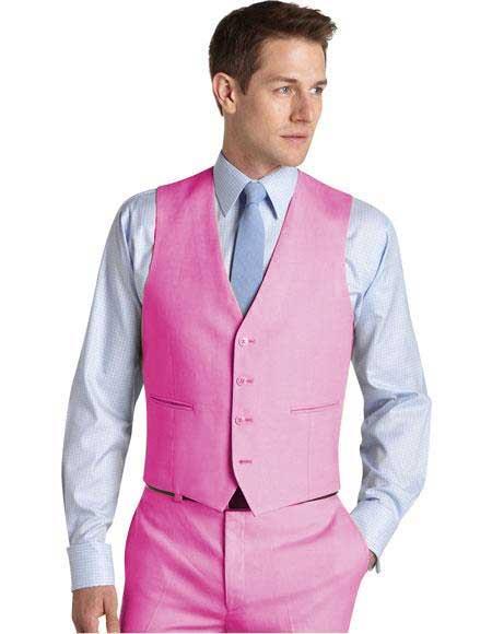 Mens Suit Vest Pink