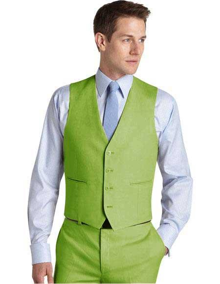 Product# JA759 Mens Suit for Men Vest Apple Green