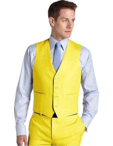 men's Suit Vest Yellow
