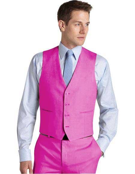 Product# JA764 Mens Suit Vest Fuschia