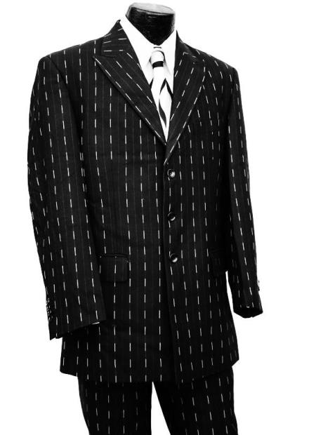 JA779 Dotted Pinstripes 2pc Zoot Suit Set - Silver Stripes