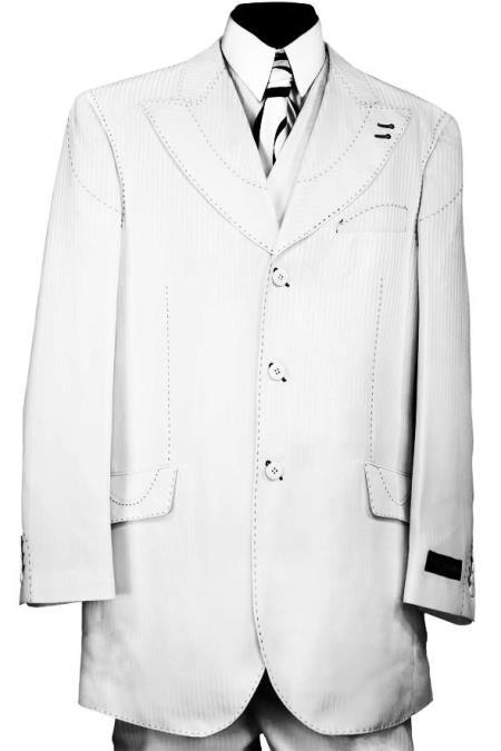 Product# JA785 Designer Arc Lapel Striped 3pc Zoot Suit Set - White